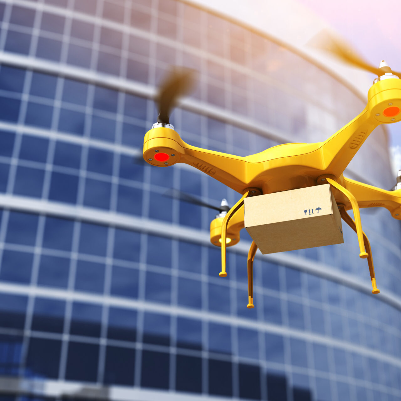 Quadrocopter carrying a parcell. 3D illustration